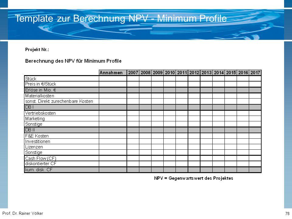Prof. Dr. Rainer Völker 78 Template zur Berechnung NPV - Minimum Profile
