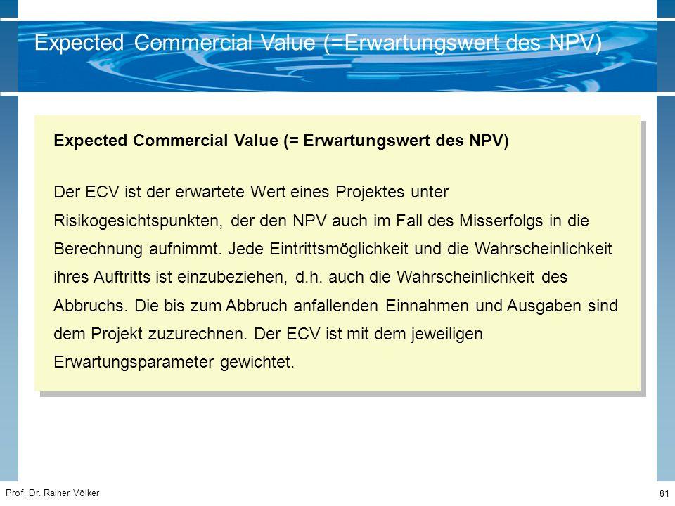Prof. Dr. Rainer Völker 81 Der ECV ist der erwartete Wert eines Projektes unter Risikogesichtspunkten, der den NPV auch im Fall des Misserfolgs in die