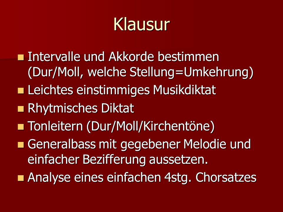 Klausur Intervalle und Akkorde bestimmen (Dur/Moll, welche Stellung=Umkehrung) Intervalle und Akkorde bestimmen (Dur/Moll, welche Stellung=Umkehrung) Leichtes einstimmiges Musikdiktat Leichtes einstimmiges Musikdiktat Rhytmisches Diktat Rhytmisches Diktat Tonleitern (Dur/Moll/Kirchentöne) Tonleitern (Dur/Moll/Kirchentöne) Generalbass mit gegebener Melodie und einfacher Bezifferung aussetzen.