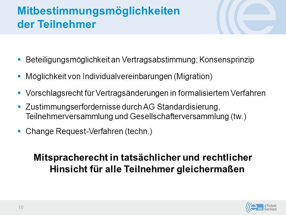 Mitbestimmungsmöglichkeiten der Teilnehmer  Beteiligungsmöglichkeit an Vertragsabstimmung; Konsensprinzip  Möglichkeit von Individualvereinbarungen