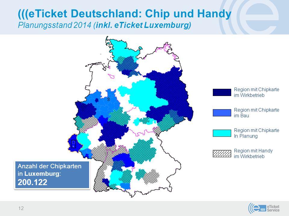 (((eTicket Deutschland: Chip und Handy Planungsstand 2014 (inkl. eTicket Luxemburg) Region mit Chipkarte im Wirkbetrieb Region mit Chipkarte im Bau Re