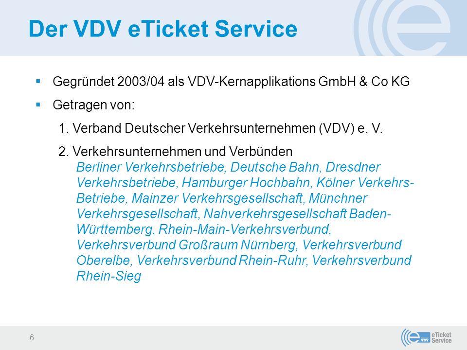 Der VDV eTicket Service  Non-profit-Ausrichtung  Entwicklung der VDV-Kernapplikation im Rahmen eines Forschungsprogramms des Bundes als Deutschen Standard für elektronische Tickets - Abnahme 2005  ÖPV-Branche organisiert über diese Gesellschaft zentrale Dienste zum (((eTicket selbst  2014 umbenannt in VDV eTicket Service GmbH & Co.