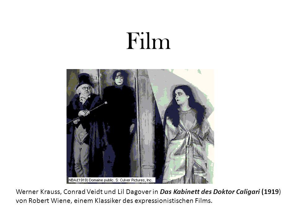 Film Werner Krauss, Conrad Veidt und Lil Dagover in Das Kabinett des Doktor Caligari (1919) von Robert Wiene, einem Klassiker des expressionistischen Films.