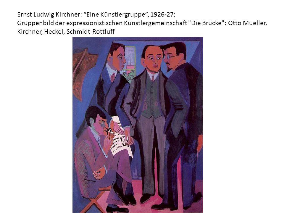 """Ernst Ludwig Kirchner: """"Eine Künstlergruppe"""", 1926-27; Gruppenbild der expressionistischen Künstlergemeinschaft"""