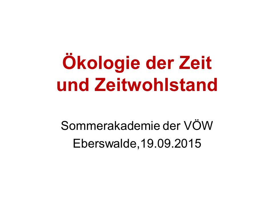 Ökologie der Zeit und Zeitwohlstand Sommerakademie der VÖW Eberswalde,19.09.2015