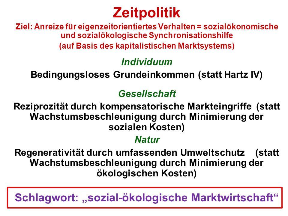 Zeitpolitik Ziel: Anreize für eigenzeitorientiertes Verhalten = sozialökonomische und sozialökologische Synchronisationshilfe (auf Basis des kapitalis