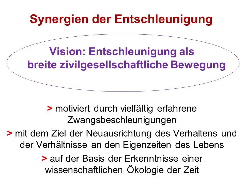 Synergien der Entschleunigung Vision: Entschleunigung als breite zivilgesellschaftliche Bewegung > motiviert durch vielfältig erfahrene Zwangsbeschleunigungen > mit dem Ziel der Neuausrichtung des Verhaltens und der Verhältnisse an den Eigenzeiten des Lebens > auf der Basis der Erkenntnisse einer wissenschaftlichen Ökologie der Zeit