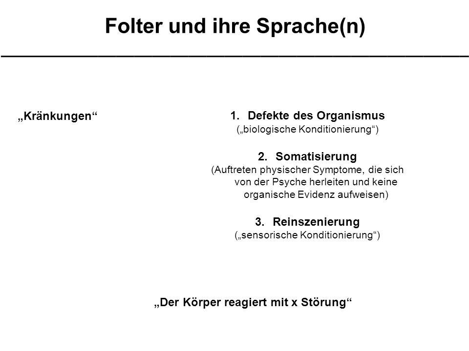 """Folter und ihre Sprache(n) ____________________________________________________ """"Kränkungen 1.Defekte des Organismus (""""biologische Konditionierung ) 2.Somatisierung (Auftreten physischer Symptome, die sich von der Psyche herleiten und keine organische Evidenz aufweisen) 3.Reinszenierung (""""sensorische Konditionierung ) """"Der Körper reagiert mit x Störung"""