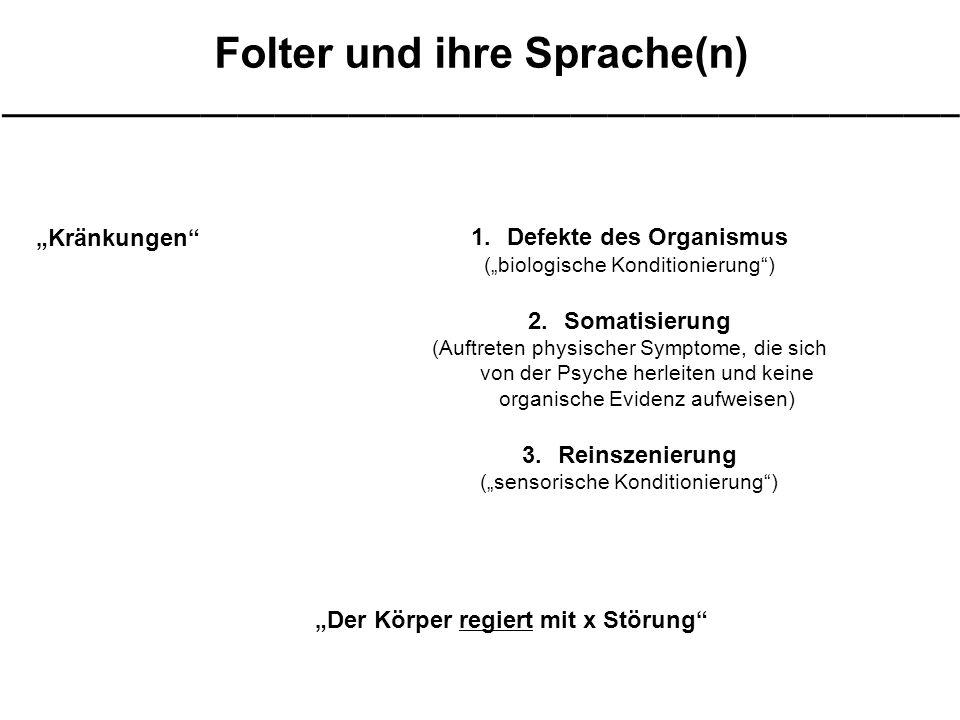 """Folter und ihre Sprache(n) ____________________________________________________ """"Kränkungen 1.Defekte des Organismus (""""biologische Konditionierung ) 2.Somatisierung (Auftreten physischer Symptome, die sich von der Psyche herleiten und keine organische Evidenz aufweisen) 3.Reinszenierung (""""sensorische Konditionierung ) """"Der Körper regiert mit x Störung"""