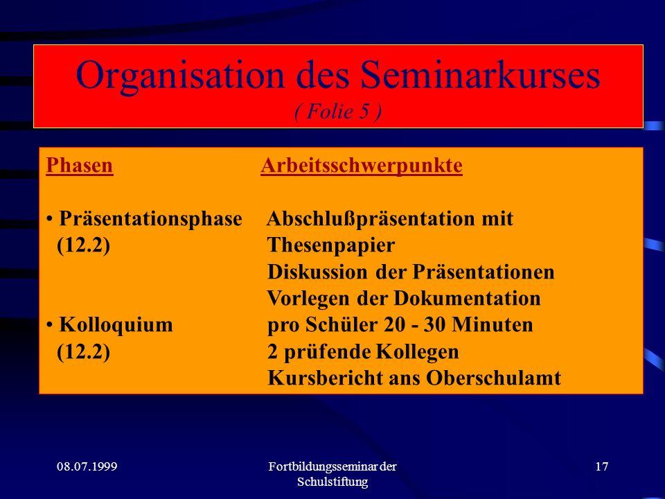 08.07.1999Fortbildungsseminar der Schulstiftung 16 Organisation des Seminarkurses ( Folie 4 ) Phasen Arbeitsschwerpunkte Erarbeitungsphase Konkretisie