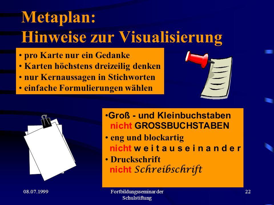08.07.1999Fortbildungsseminar der Schulstiftung 21 Ein Thema - sechs unterschiedliche Wahrnehmungen ( Bedeutungen )