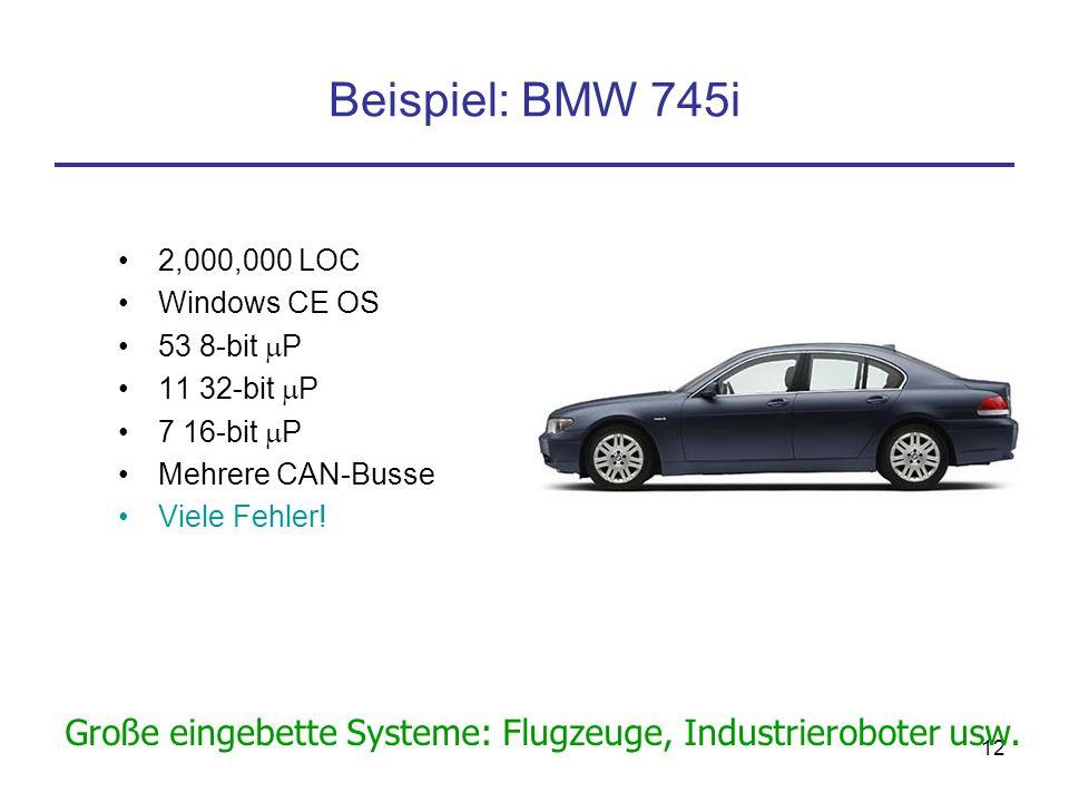 11 Kostenanteile Heutige Luxusautos – ungefähr 30% der Kosten für Elektronik (einschließlich Software) Alle Autos im Jahre 2010: 35 % der Kosten für E