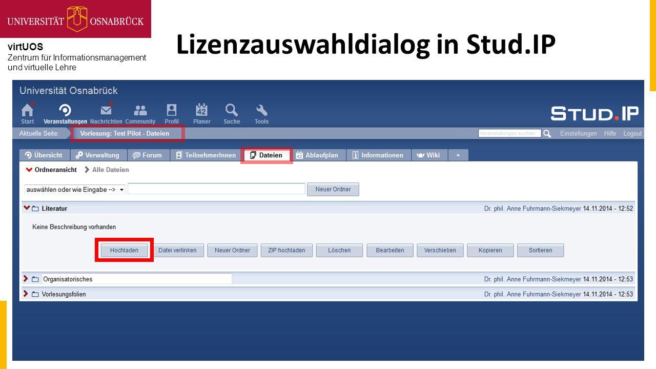 virtUOS Zentrum für Informationsmanagement und virtuelle Lehre Lizenzauswahldialog in Stud.IP