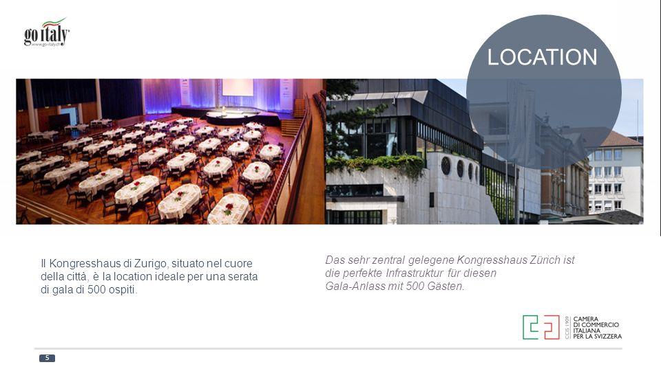 LOCATION Il Kongresshaus di Zurigo, situato nel cuore della città, è la location ideale per una serata di gala di 500 ospiti. Das sehr zentral gelegen