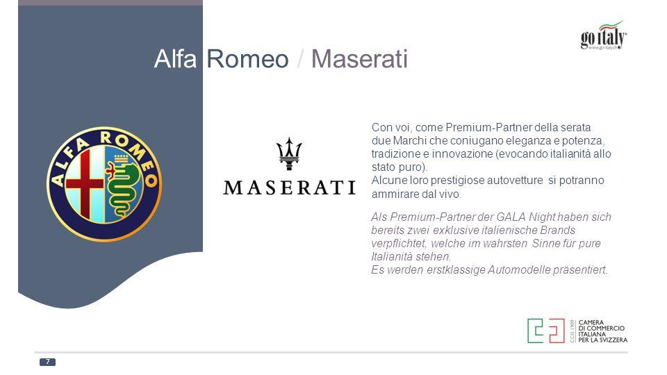 Als Premium-Partner der GALA Night haben sich bereits zwei exklusive italienische Brands verpflichtet, welche im wahrsten Sinne für pure Italianità st