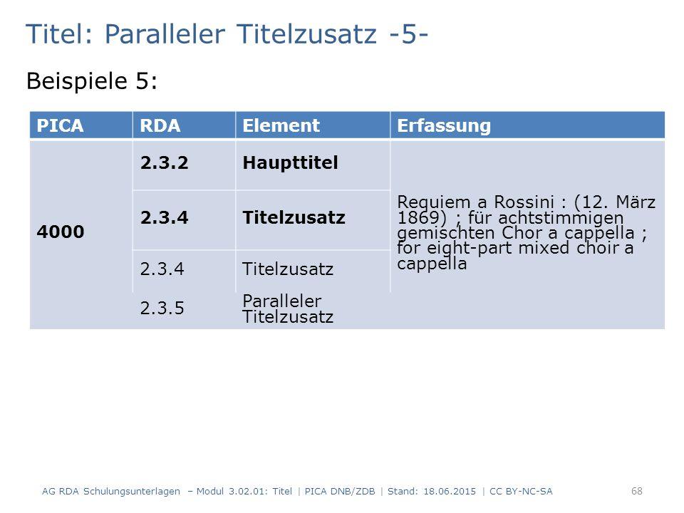 Titel: Paralleler Titelzusatz -5- Beispiele 5: PICARDAElementErfassung 4000 2.3.2Haupttitel Requiem a Rossini : (12.