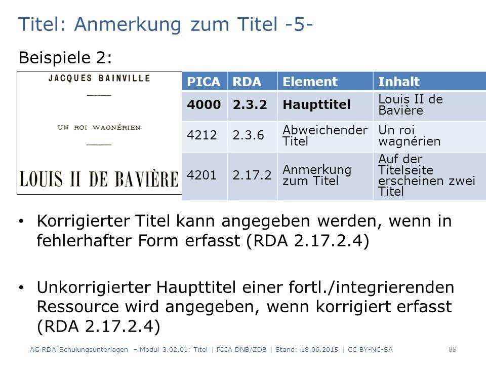 Titel: Anmerkung zum Titel -5- Beispiele 2: Korrigierter Titel kann angegeben werden, wenn in fehlerhafter Form erfasst (RDA 2.17.2.4) Unkorrigierter Haupttitel einer fortl./integrierenden Ressource wird angegeben, wenn korrigiert erfasst (RDA 2.17.2.4) PICARDAElementInhalt 40002.3.2Haupttitel Louis II de Bavière 42122.3.6 Abweichender Titel Un roi wagnérien 42012.17.2 Anmerkung zum Titel Auf der Titelseite erscheinen zwei Titel AG RDA Schulungsunterlagen – Modul 3.02.01: Titel | PICA DNB/ZDB | Stand: 18.06.2015 | CC BY-NC-SA 89