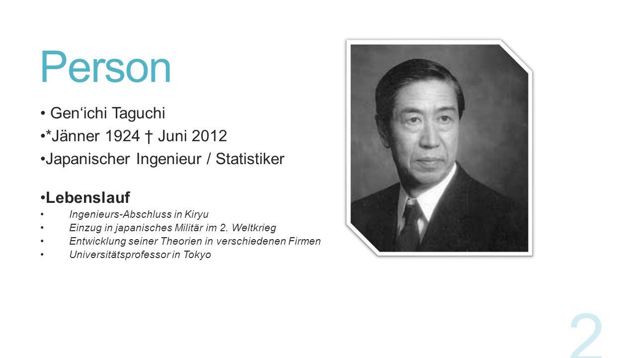 Person Gen'ichi Taguchi *Jänner 1924 † Juni 2012 Japanischer Ingenieur / Statistiker Lebenslauf Ingenieurs-Abschluss in Kiryu Einzug in japanisches Mi