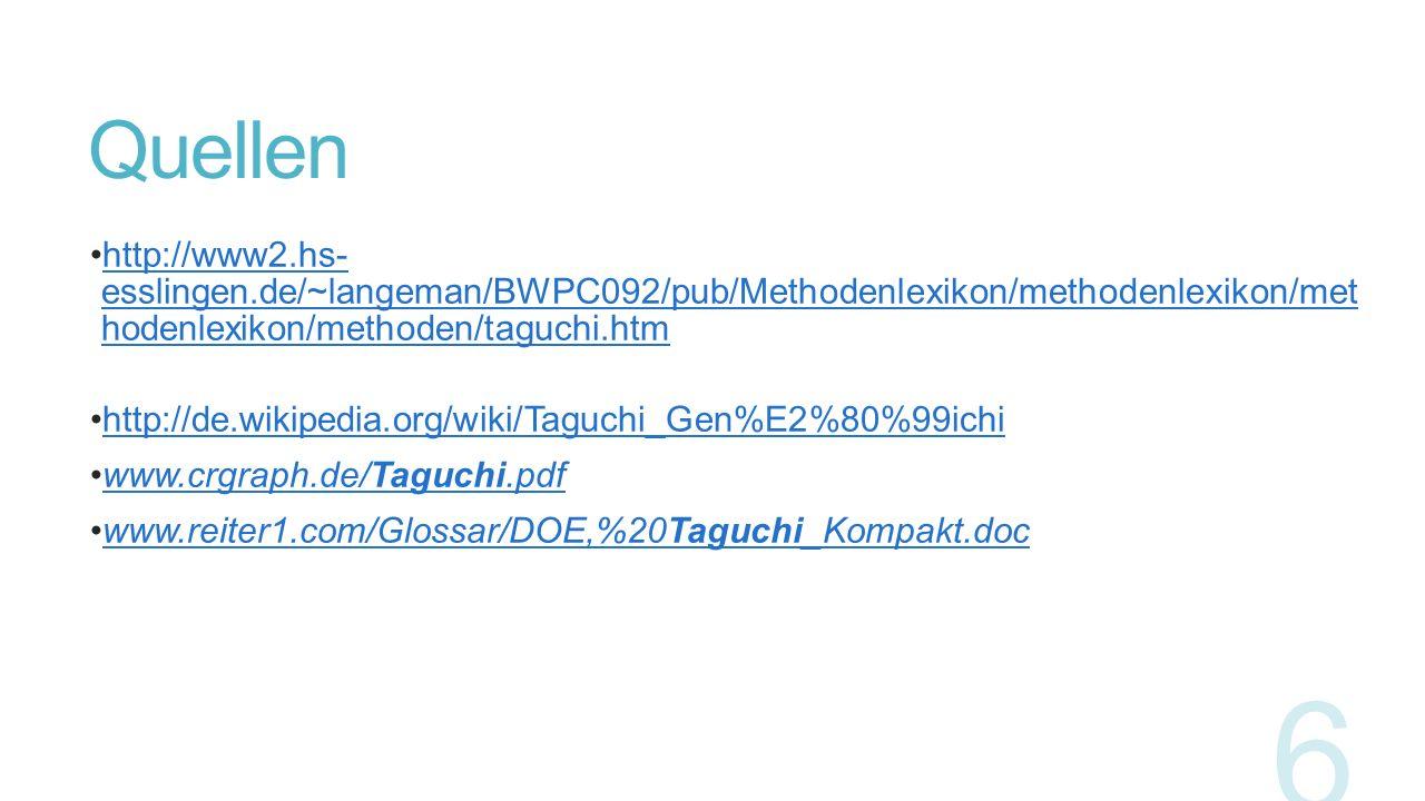 Quellen http://www2.hs- esslingen.de/~langeman/BWPC092/pub/Methodenlexikon/methodenlexikon/met hodenlexikon/methoden/taguchi.htmhttp://www2.hs- esslin