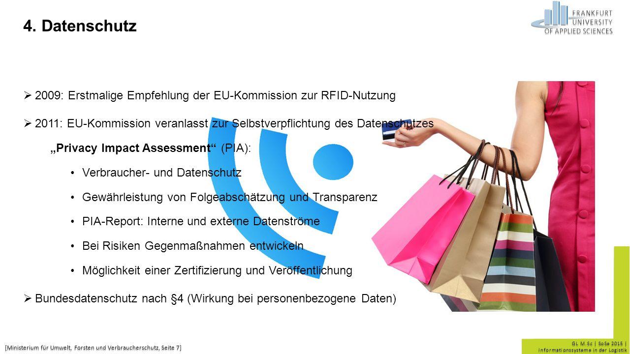 GL M.Sc | SoSe 2015 | Informationssysteme in der Logistik 4. Datenschutz  2009: Erstmalige Empfehlung der EU-Kommission zur RFID-Nutzung  2011: EU-K