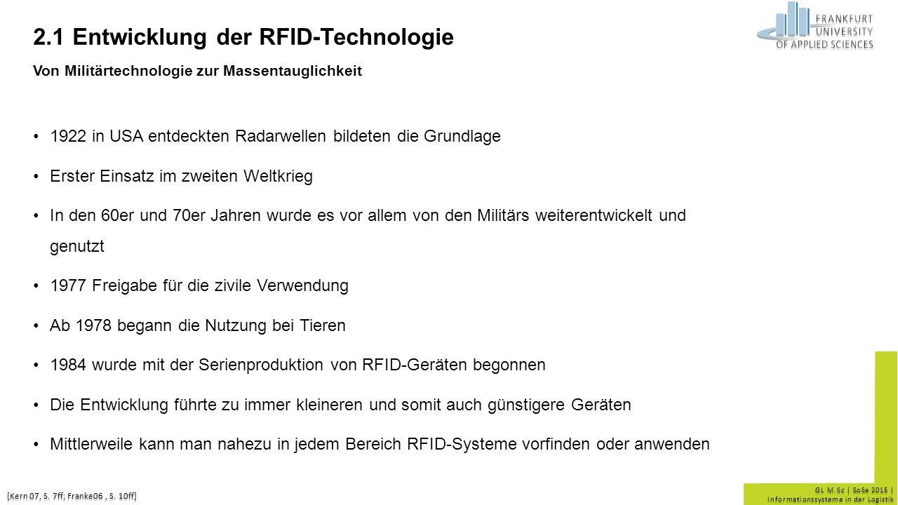 GL M.Sc | SoSe 2015 | Informationssysteme in der Logistik 2.1 Entwicklung der RFID-Technologie Von Militärtechnologie zur Massentauglichkeit 1922 in U
