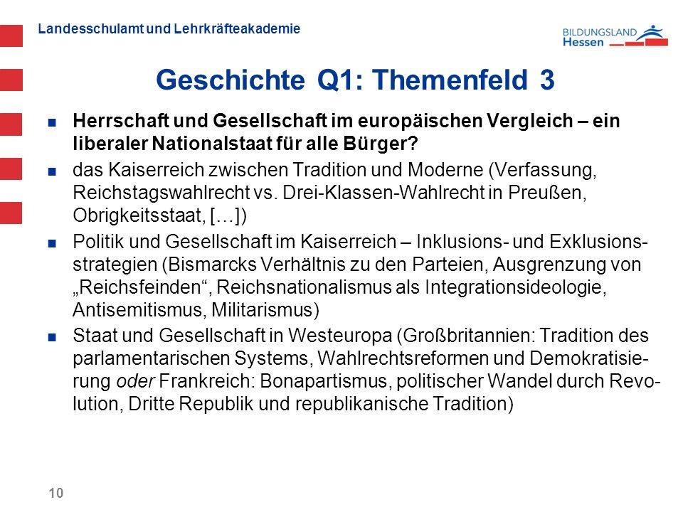 Landesschulamt und Lehrkräfteakademie Geschichte Q1: Themenfeld 3 10 Herrschaft und Gesellschaft im europäischen Vergleich – ein liberaler Nationalsta
