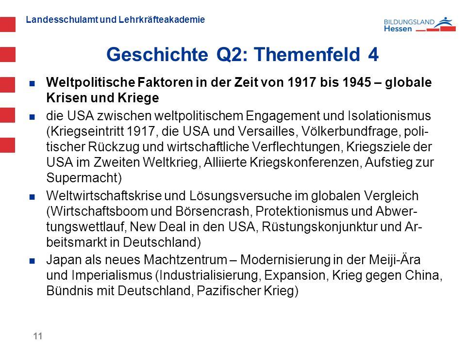 Landesschulamt und Lehrkräfteakademie Geschichte Q2: Themenfeld 4 11 Weltpolitische Faktoren in der Zeit von 1917 bis 1945 – globale Krisen und Kriege