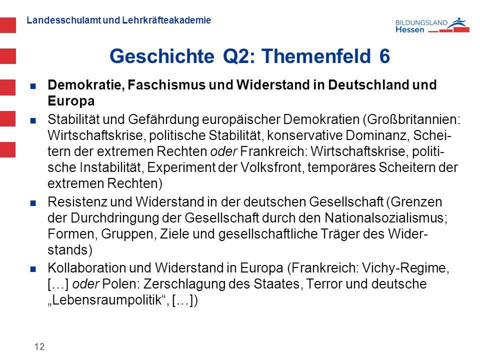 Landesschulamt und Lehrkräfteakademie Geschichte Q2: Themenfeld 6 12 Demokratie, Faschismus und Widerstand in Deutschland und Europa Stabilität und Ge