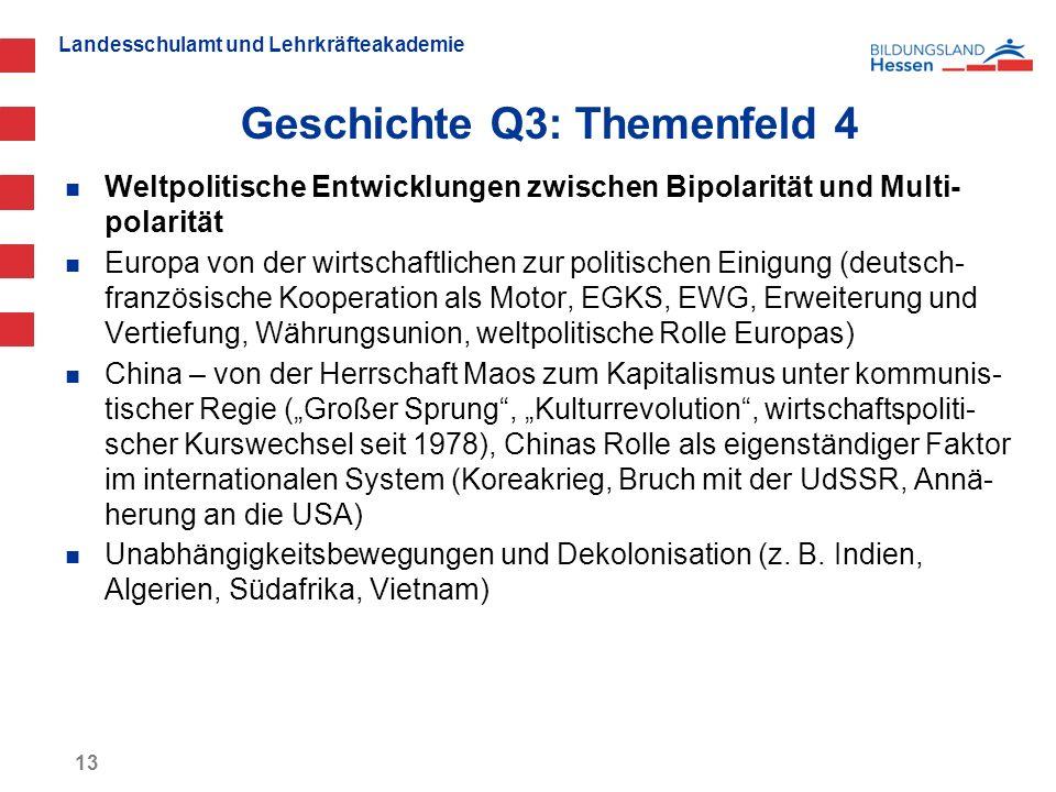 Landesschulamt und Lehrkräfteakademie Geschichte Q3: Themenfeld 4 13 Weltpolitische Entwicklungen zwischen Bipolarität und Multi- polarität Europa von