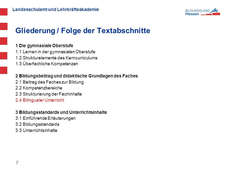 Landesschulamt und Lehrkräfteakademie Gliederung / Folge der Textabschnitte 1 Die gymnasiale Oberstufe 1.1 Lernen in der gymnasialen Oberstufe 1.2 Str