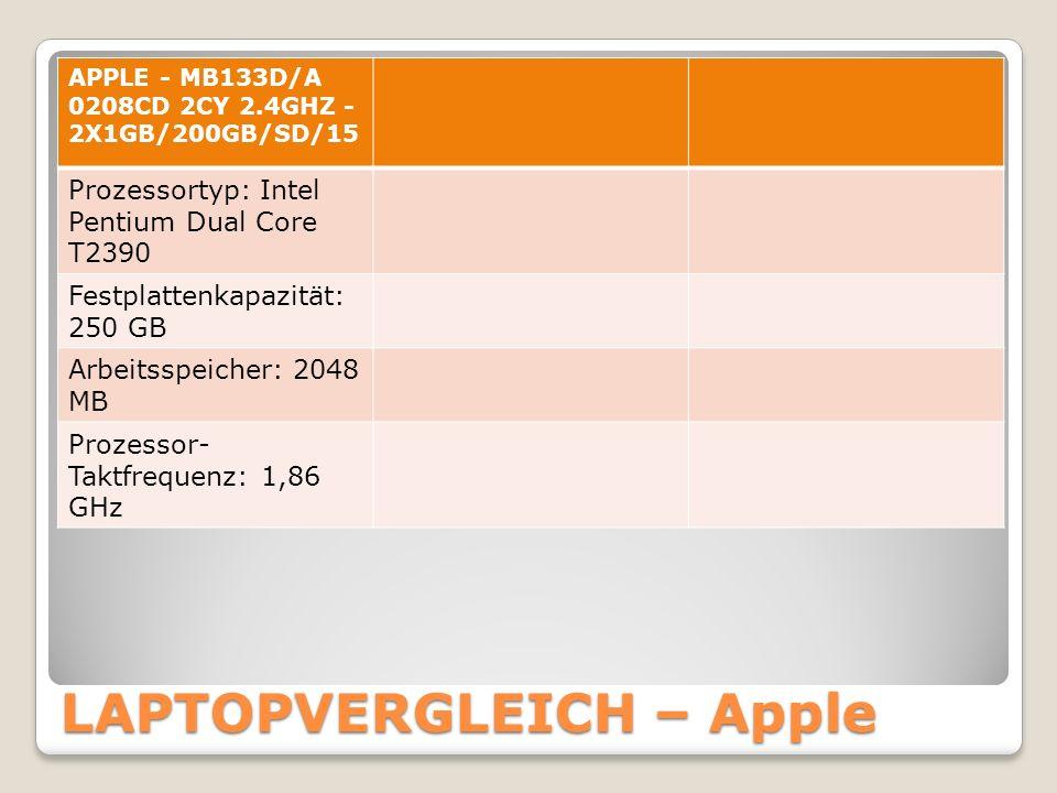 LAPTOPVERGLEICH – Apple APPLE - MB133D/A 0208CD 2CY 2.4GHZ - 2X1GB/200GB/SD/15 Prozessortyp: Intel Pentium Dual Core T2390 Festplattenkapazität: 250 GB Arbeitsspeicher: 2048 MB Prozessor- Taktfrequenz: 1,86 GHz