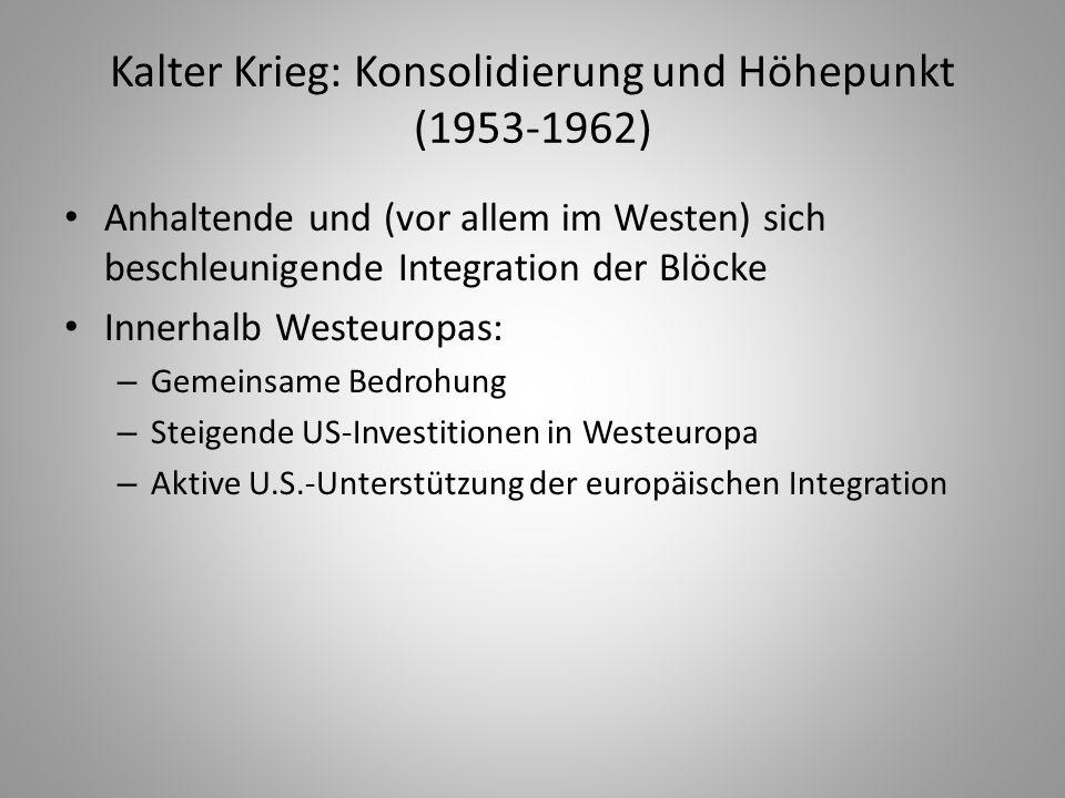 Kalter Krieg: Konsolidierung und Höhepunkt (1953-1962) Anhaltende und (vor allem im Westen) sich beschleunigende Integration der Blöcke Innerhalb West
