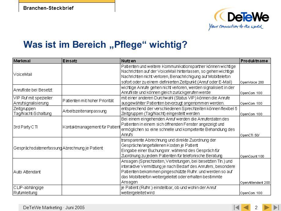 """DeTeWe Marketing · Juni 20052 Branchen-Steckbrief Was ist im Bereich """"Pflege"""" wichtig?"""