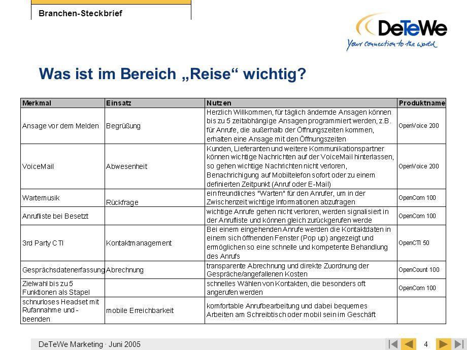 """DeTeWe Marketing · Juni 20054 Branchen-Steckbrief Was ist im Bereich """"Reise"""" wichtig?"""