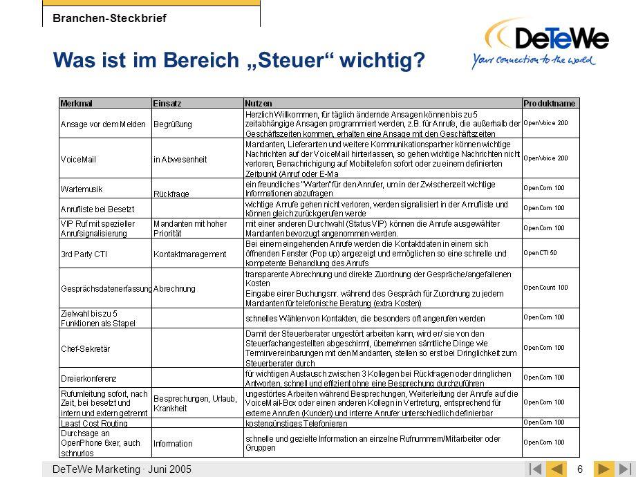 """DeTeWe Marketing · Juni 20056 Branchen-Steckbrief Was ist im Bereich """"Steuer"""" wichtig?"""