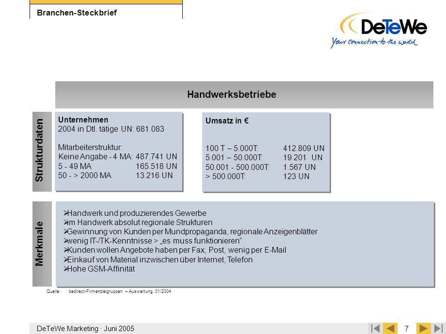 DeTeWe Marketing · Juni 20057 Branchen-Steckbrief  Handwerk und produzierendes Gewerbe  im Handwerk absolut regionale Strukturen  Gewinnung von Kun
