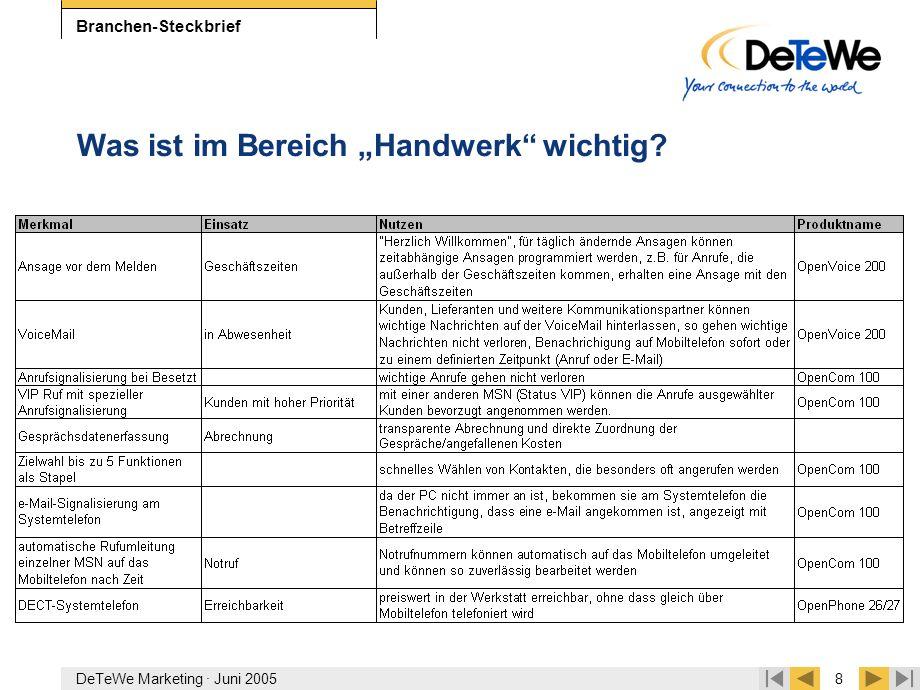 """DeTeWe Marketing · Juni 20058 Branchen-Steckbrief Was ist im Bereich """"Handwerk"""" wichtig?"""