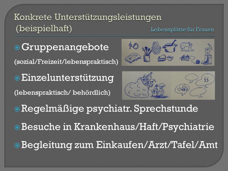  Gruppenangebote (sozial/Freizeit/lebenspraktisch)  Einzelunterstützung (lebenspraktisch/ behördlich)  Regelmäßige psychiatr.