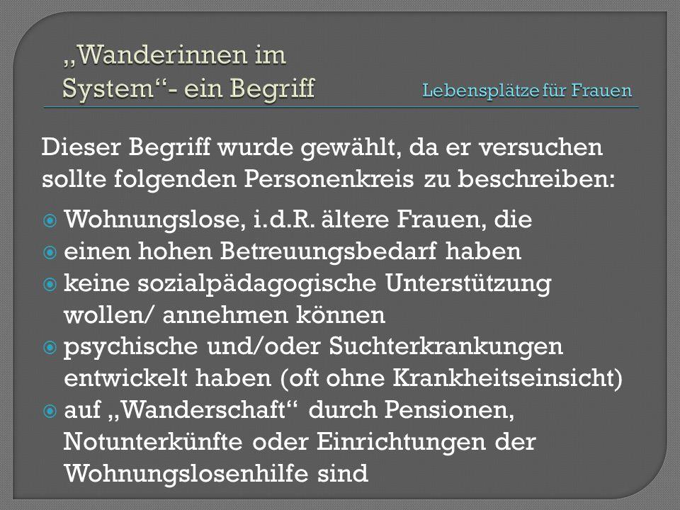 """ Fachtagung 2006: """"Vom Angebot zum Verbund – Welche Hilfen brauchen wohnungslose Frauen in München?  Ergebnis: Im Hilfesystem fehlen langfristige, niedrigschwellige Wohnangebote mit pauschal finanzierten Betreuungsangeboten für """"Wanderinnen im System"""