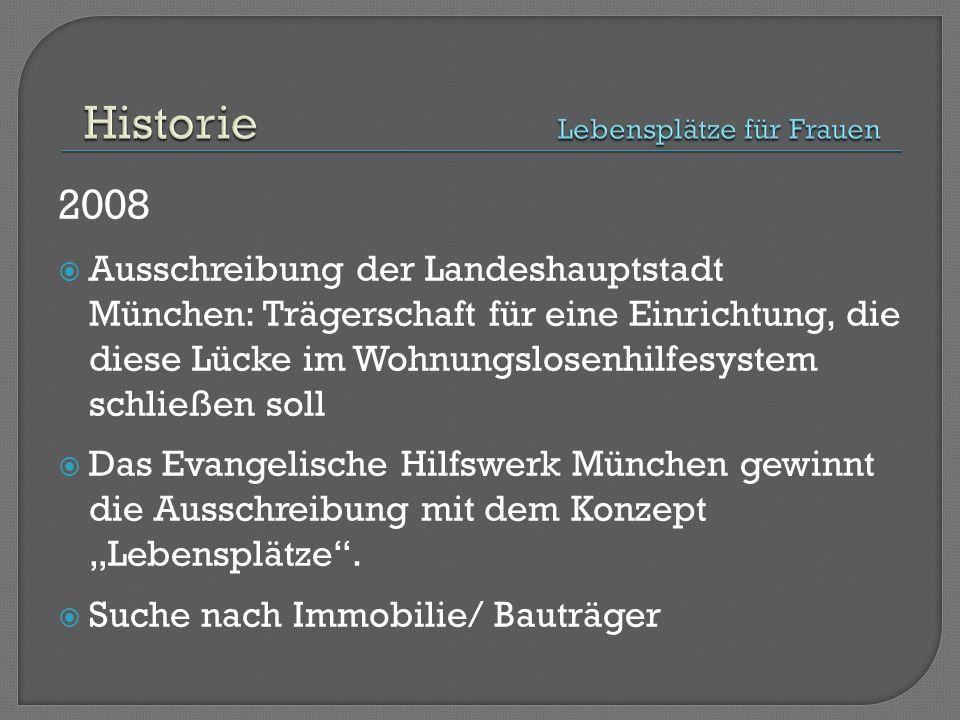 """2008  Ausschreibung der Landeshauptstadt München: Trägerschaft für eine Einrichtung, die diese Lücke im Wohnungslosenhilfesystem schließen soll  Das Evangelische Hilfswerk München gewinnt die Ausschreibung mit dem Konzept """"Lebensplätze ."""