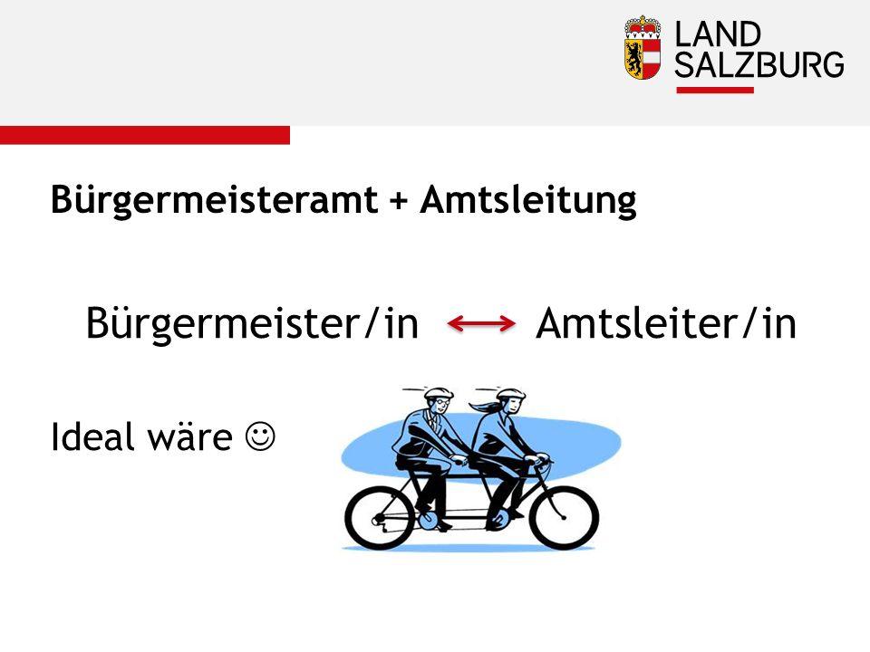 Bürgermeisteramt + Amtsleitung Bürgermeister/in Amtsleiter/in Ideal wäre