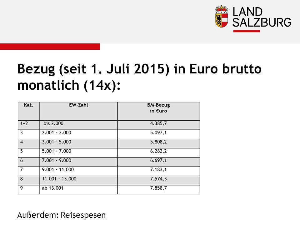 Bezug (seit 1. Juli 2015) in Euro brutto monatlich (14x): Außerdem: Reisespesen