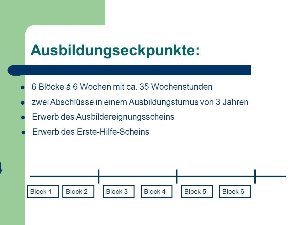 Ausbildungsverlauf 1.Ausbildungsdurchgang (grün) 2.