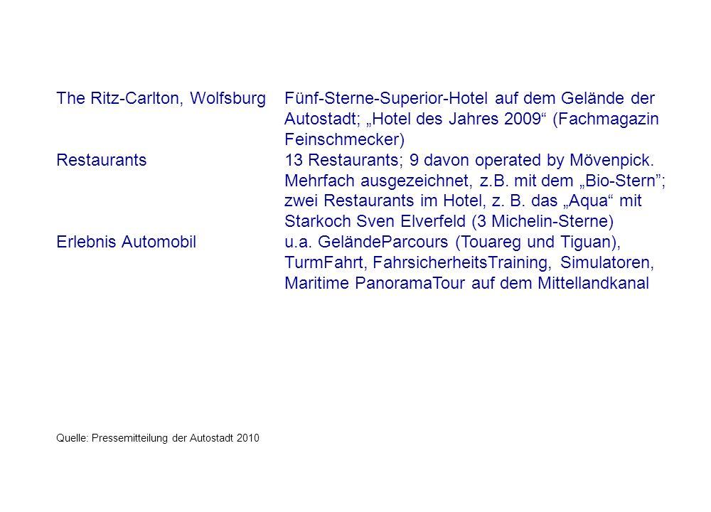 """The Ritz-Carlton, Wolfsburg Fünf-Sterne-Superior-Hotel auf dem Gelände der Autostadt; """"Hotel des Jahres 2009 (Fachmagazin Feinschmecker) Restaurants 13 Restaurants; 9 davon operated by Mövenpick."""
