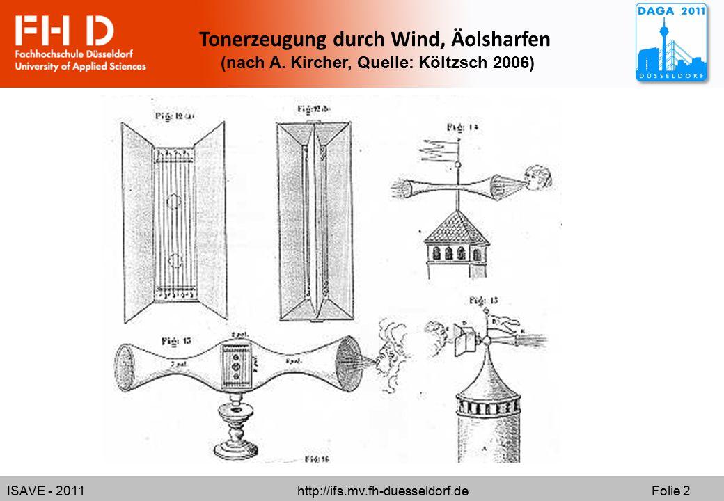 ISAVE - 2011 http://ifs.mv.fh-duesseldorf.de Folie 2 Tonerzeugung durch Wind, Äolsharfen (nach A. Kircher, Quelle: Költzsch 2006)