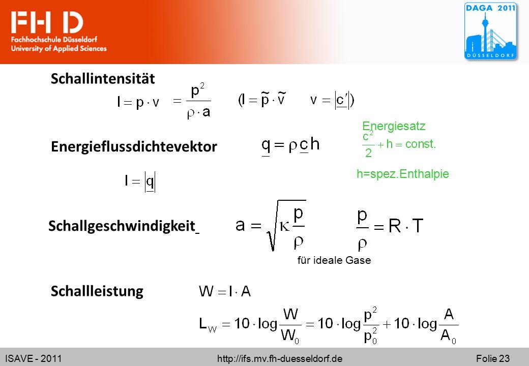 ISAVE - 2011 http://ifs.mv.fh-duesseldorf.de Folie 23 Schallintensität Schallgeschwindigkeit für ideale Gase Energieflussdichtevektor Energiesatz h=spez.Enthalpie Schallleistung
