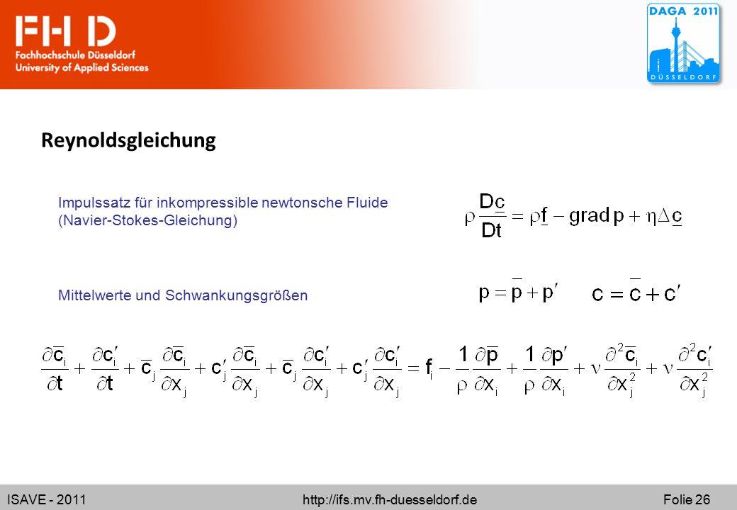 ISAVE - 2011 http://ifs.mv.fh-duesseldorf.de Folie 26 Reynoldsgleichung Impulssatz für inkompressible newtonsche Fluide (Navier-Stokes-Gleichung) Mittelwerte und Schwankungsgrößen