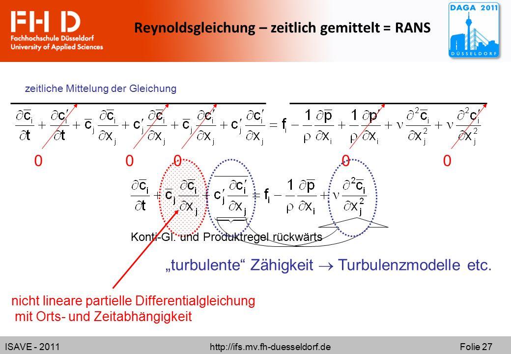 """ISAVE - 2011 http://ifs.mv.fh-duesseldorf.de Folie 27 Reynoldsgleichung – zeitlich gemittelt = RANS """"turbulente"""" Zähigkeit  Turbulenzmodelle etc. zei"""