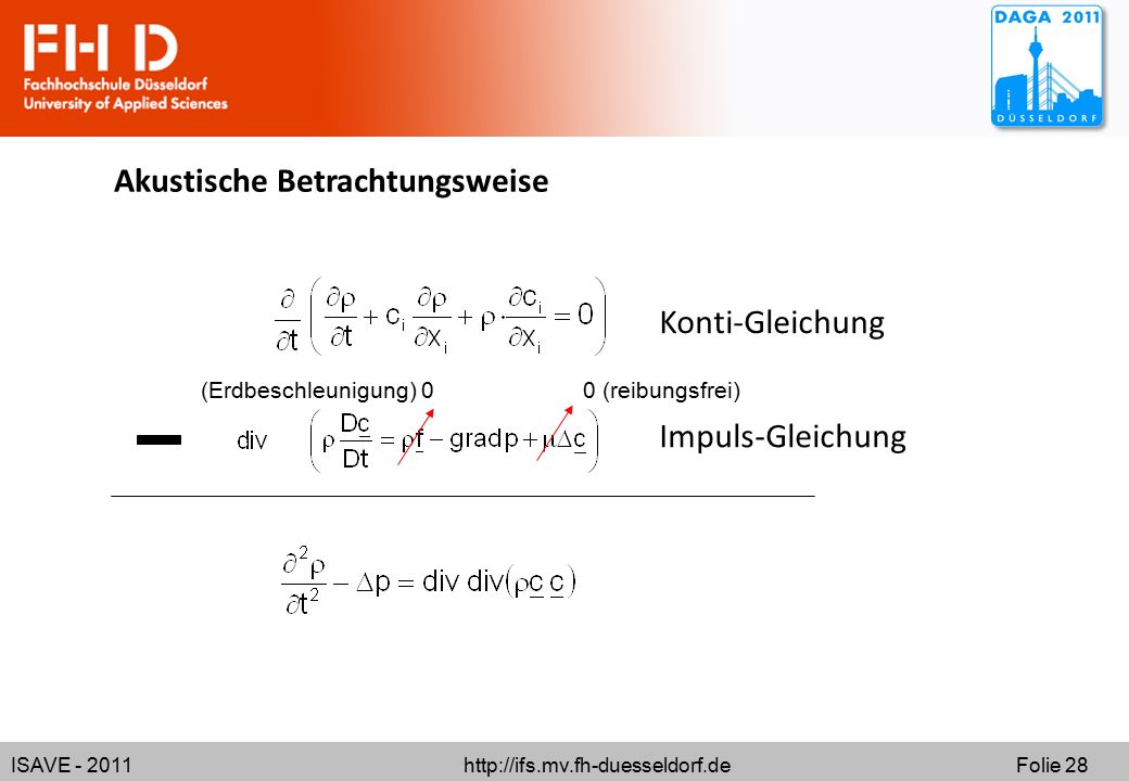 ISAVE - 2011 http://ifs.mv.fh-duesseldorf.de Folie 28 Akustische Betrachtungsweise Konti-Gleichung Impuls-Gleichung 0 (reibungsfrei)(Erdbeschleunigung) 0