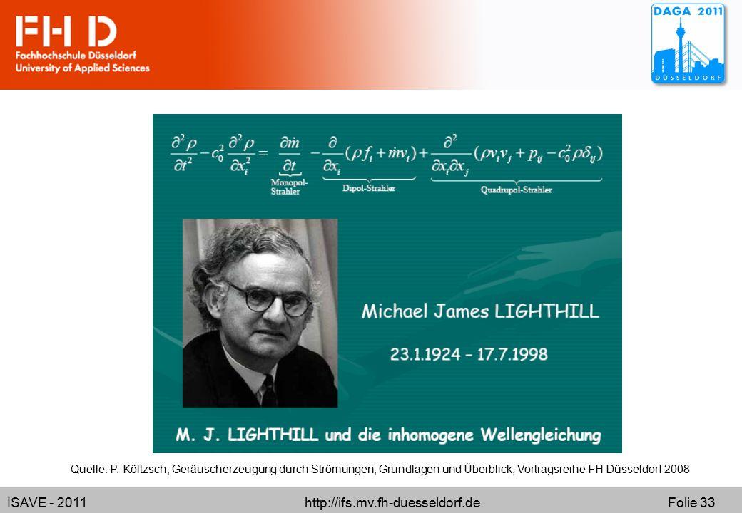 ISAVE - 2011 http://ifs.mv.fh-duesseldorf.de Folie 33 Quelle: P. Költzsch, Geräuscherzeugung durch Strömungen, Grundlagen und Überblick, Vortragsreihe